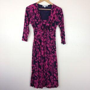 Boden Pink Floral Print Faux Wrap Dress Size 8L